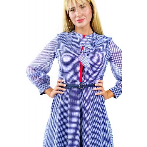 Midi Μωβ Φόρεμα Vintage Spotted