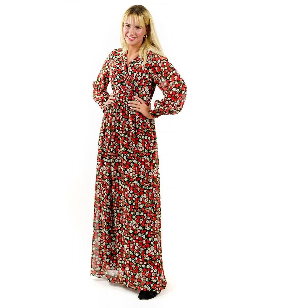 Κρουαζέ Maxi Κόκκινο Floral Φόρεμα
