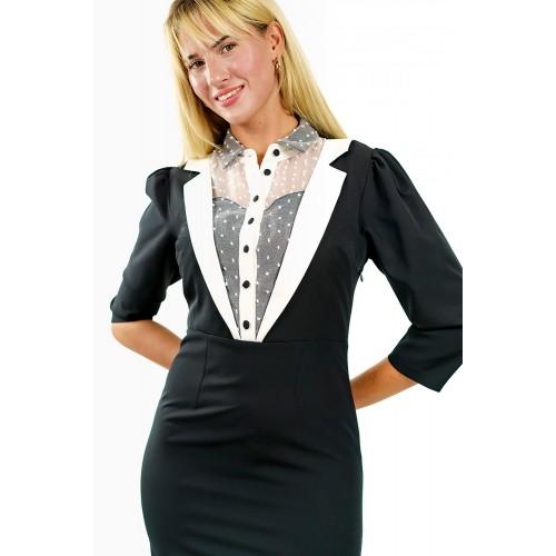 Μαύρο Midi Pin up Φόρεμα