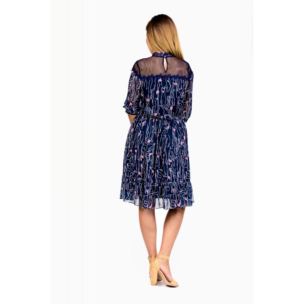 Φόρεμα Μπλε-Ροζ Μidi