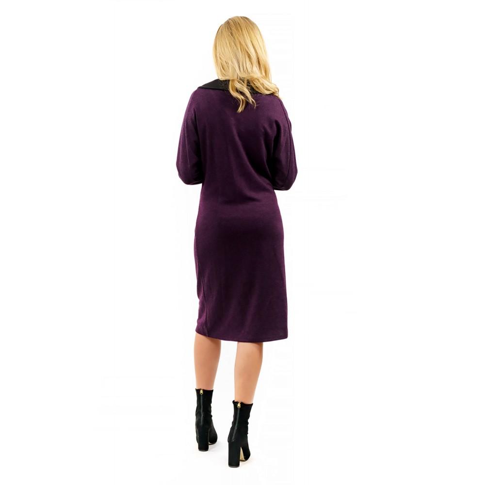 BigLove Μidi Μωβ με Μαύρο Φόρεμα