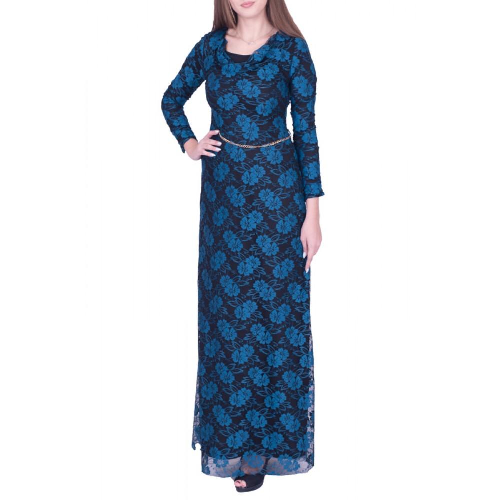 Φόρεμα Maxi Δαντέλα Γαλάζιο
